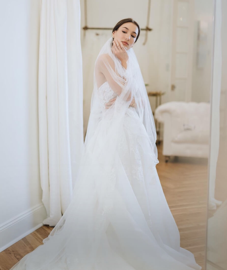 Brunette model in Pronovias gown